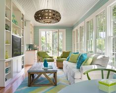 Fresh Turquoise Lime Green Coastal Living Room