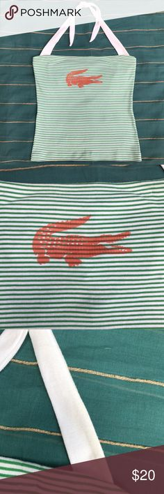 Lacoste Halter Top Kelly green and white Lacoste halter top. Orange Lacoste alligator printed on the front. The white ties have some discolored spots (pictured) but they could likely be bleached out. Otherwise good used condition. Lacoste Tops