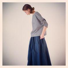「#APUNTOB  cotton silk pullover stripe shirt cotton poplin skirt  #bshop_official #15ss」