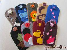 Il gomitolo di Flora custodie per smartphone in feltro handmade