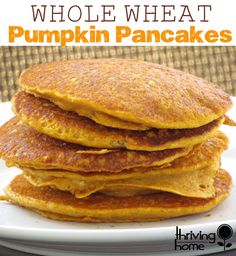 Whole Wheat Pumpkin Pancakes Recipe. Healthy and loved by kids!