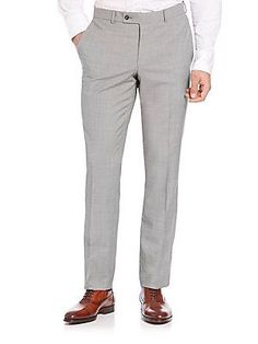Saks Fifth Avenue Collection Modern Wool Check Pants - Black White - S