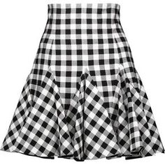 Dolce & Gabbana - Ruffled Gingham Cotton Mini Skirt (2.255 BRL) ❤ liked on Polyvore featuring skirts, mini skirts, bottoms, saias, dolce & gabbana, gingham, black, ruffle mini skirt, short ruffle skirt and print mini skirt