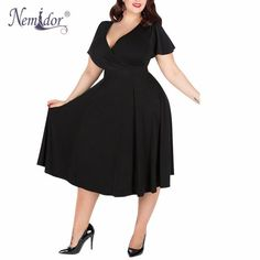 Nemidor V-neck Short Sleeve Party A-line Dress Stretchy Midi Plus Size  Cocktail Swing Dress 6c8704c1d475