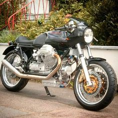 One gorgeous #motoguzzi #caferacer #motorcycle . The go and the show. Perfect
