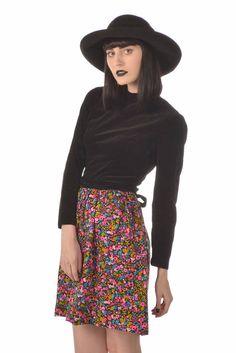 Jacqueline 60s Black Velvet   Jewel Tone Floral Mini Dress