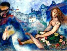 Marc Chagall - Jeune fille au cheval, 1927-29. Oil on canvas, 30 1/4 x 39 7/8 in. (77 x 101.5 cm.).