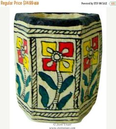 SALE 30% OFF Pencil Holder Papier Mache Indian Handicraft Home Decor with Madhubani Painting of Bihar in East India