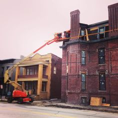 Mansard roof work happening at Owen Block!  #archreno #architecturalrenovators #OwenBlock #owenblockpreservationeffort #downtownevansville #evv #evansville