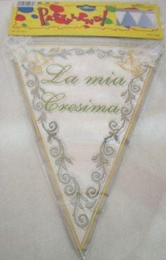 """Banner festone da appendere con bandierine in PVC """"La mia Cresima"""" L.3,6 mt. Per decorazioni."""