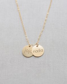 Name Disk Necklace - great for kids, grandkids or show off the whole family. Even add birth dates on the back! Available in silver, gold and rose gold by Olive Yew.