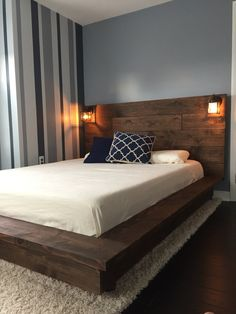 Floating Wood Platform Bed frame with Lighted by KnotsandBiscuits