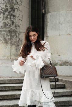 H&M Studio dress, Badura x La Mania leather boots, Louis Vuitton Alma BB bag