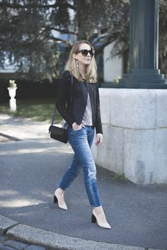 Shop this look for $131:  http://lookastic.com/women/looks/crew-neck-t-shirt-and-crossbody-bag-and-jeans-and-heels-and-blazer/1655  — Grey Crew-neck T-shirt  — Black Leather Crossbody Bag  — Blue Jeans  — White Leather Pumps  — Black Lace Blazer