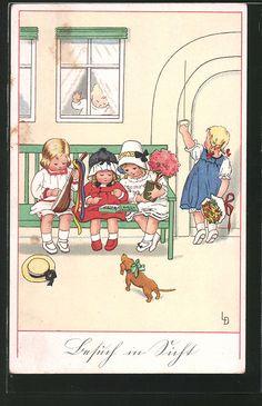 carte postale ancienne: CPA Illustrateur Lia Döring: des enfants möchten einer Freundin zum Geburtstag gratulieren