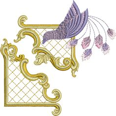 Sue Box Creations | Download Embroidery Designs | 23 - Gilt Frame 3 & Bird Set