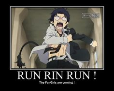 ao no exorcist funny | ... , Open Shirt, Running, Messy Hair, Ao no Exorcist, Okumura Rin, D