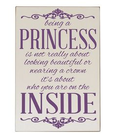 Cream & Purple 'Being a Princess' Wall Sign