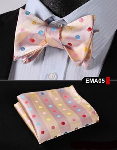 Peach, Pink, blue, red Floral 100% Silk Butterfly Tie Self Tie Bow Tie Pocket Square Bow tie Set