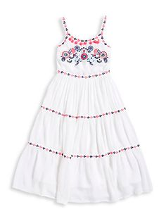 Manguun Girl's Embroidered Floral A-Line Dress