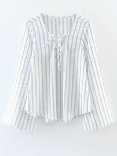 Lace Up Striped Pullover Blouse #men, #hats, #watches, #belts, #fashion, #style