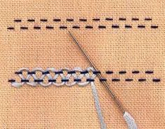 a step by step illustration of how to work stepped threaded running stitch