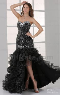 Wholesale 2013 Sexy Black Mermaid Hi Lo Prom Dresses Organza Multi Layered Sweetheart Sequins Gowns HW058, $157.92-162.4/Piece | DHgate