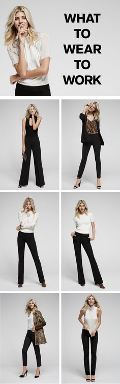The perfect dress pants are the foundation of your wear-to-work wardrobe. Finding the right shape is crucial. If you're climbing the latter at a corporation, the Express barely boot or slim flare are universally flattering, and totally office-appropriate. Pair with a feminine top and dainty accessories. If you're working in a creative environment, show off your personal style (and cute heels) with an extra slim pair of ankle pants and a cheetah print coat.