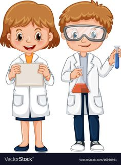 Boy and girl in science gown Royalty Free Vector Image