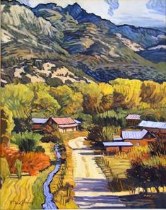 Robert Daughters, American Expressionist (b. 1929 - ) Near Embudo, NM