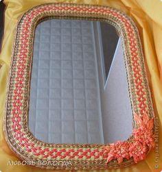 Декор предметов Плетение рама для зеркала Трубочки бумажные фото 9