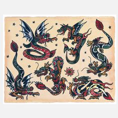 dragons -- sailor jerry style