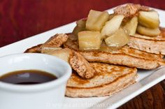Oatmeal Pancakes with Caramelized Apples & Fruit Butter.