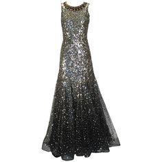 Stunning Oscar de la Renta Sequined Constellation Evening Gown 1