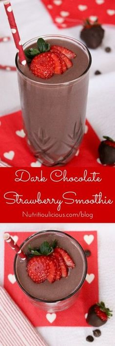 Dark chocolate, creamy greek yogurt, and sweet strawberries are the perfect combination in this frosty heart healthy Valentine's Day Dark Chocolate Strawberry Smoothie. Get the vegetarian and gluten-f (Dark Chocolate Smoothie) Yummy Drinks, Healthy Drinks, Healthy Snacks, Yummy Food, Protein Recipes, Healthy Smoothie Recipes, Yogurt Recipes, Milk Recipes, Baking Recipes