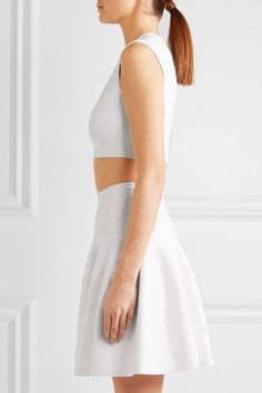 Alaïa - Cropped Stretch Jacquard-knit Top - White - FR44