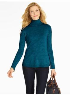 Drop-Shoulder Merino Wool Turtleneck