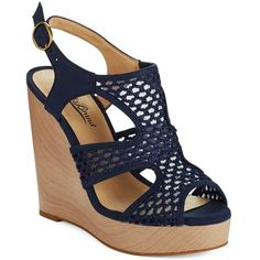 LUCKY BRAND Remyy Woven Wedges ($39) ❤ liked on Polyvore featuring shoes, sandals, wedges, heels, blue, braided wedge sandals, wedges shoes, blue wedge shoes, open toe wedge shoes and wedge heel sandals