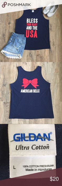 NEW Tank 100% cotton Navy patriotic tank. 2nd picture shows off the cute back. Perfect for Memorial Day and the Fourth of July! Gently loved, a little paint has come off the B in bless, but other than that it is perfect. No stains, holes, or snags. non smoking home Tops Tank Tops