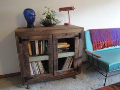 MINERAL KING custom handmade reclaimed wood Bookcase Wine Rack Record Cabinet Case. $385.00, via Etsy.