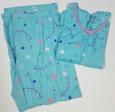 White Stag Size 16-18 Blue Pajama Set Starry Nights Long Sleeve Shirt Pants #whitestag #PajamaSets #Everyday