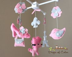 """Baby Crib Mobile - Baby Mobile - Nursery Paris Mobile - French Mobile """"A night in Paris""""(You can pick your colors) Mobile - Crib Mobile Paris Nursery, Girl Nursery, Baby Crib Mobile, Baby Cribs, Baby Mobiles, Felt Mobile, Paris Theme, Future Baby, Baby Room"""
