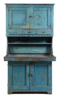 Description: An American Painted Dry Sink 19th century having a superstructure with two doors and three drawers over the base set with two doors. Height 76 x width 42 x depth 25 inches.