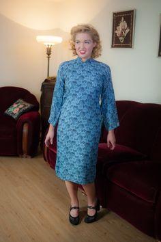 Jahrgang 1940er Kleid atemberaubende Kornblumblau und von FabGabs