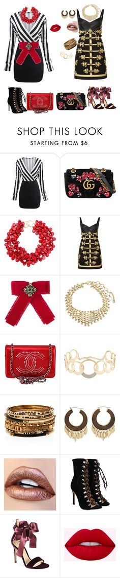 """red and black"" by svetlozeme on Polyvore featuring WithChic, Gucci, Kenneth Jay Lane, Dolce&Gabbana, Amrita Singh, Chanel, Lana, Kakao By K and Gianvito Rossi"