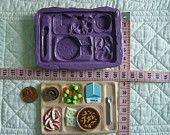 School Lunch Cafeteria Tray Food Safe Silicone Mold Mould CakeTool Fondant Gumpaste Pastillage Chocolate Candy Sugarcraft Resin Plaster Clay