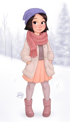 Snowy Day by Luigi Lucarelli on ArtStation. Character Design Sketches, Character Design Girl, Kid Character, Character Drawing, Cartoon Girl Drawing, Girl Cartoon, Cartoon Drawings, Cartoon Art, Girly Drawings