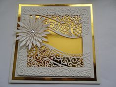 Love the gold mirror-board underneath. no source or info Heartfelt Creations, Wedding Anniversary Cards, Wedding Cards, Wedding Invitations, Tattered Lace Cards, Karten Diy, Spellbinders Cards, Embossed Cards, Flower Cards