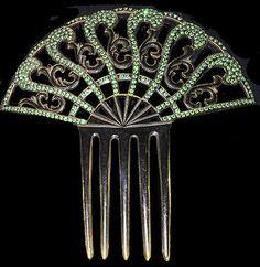 Antique Fancy Art Deco Celluloid Large Hair Comb Green Rhinestones Victorian   eBay
