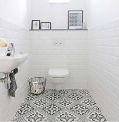 Bathroom Interior Design, Interior Decorating, Natural Interior, Powder Room, Room Inspiration, Tile Floor, Flooring, Black And White, House